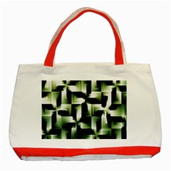 Green Black And White Abstract Background Of Squares Classic Tote Bag (red)