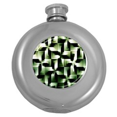 Green Black And White Abstract Background Of Squares Round Hip Flask (5 Oz)