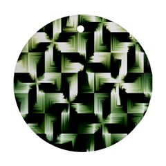Green Black And White Abstract Background Of Squares Round Ornament (two Sides)
