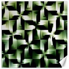 Green Black And White Abstract Background Of Squares Canvas 16  X 16