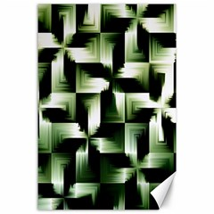 Green Black And White Abstract Background Of Squares Canvas 24  X 36