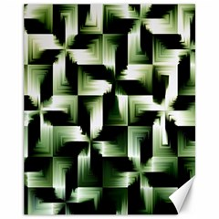 Green Black And White Abstract Background Of Squares Canvas 11  X 14