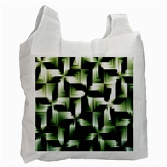 Green Black And White Abstract Background Of Squares Recycle Bag (one Side)