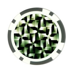 Green Black And White Abstract Background Of Squares Poker Chip Card Guard (10 pack)