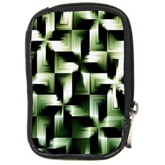 Green Black And White Abstract Background Of Squares Compact Camera Cases