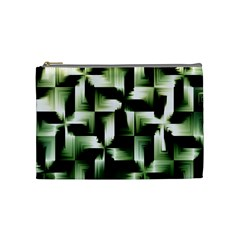 Green Black And White Abstract Background Of Squares Cosmetic Bag (medium)