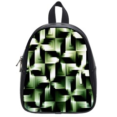 Green Black And White Abstract Background Of Squares School Bags (small)