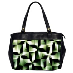 Green Black And White Abstract Background Of Squares Office Handbags (2 Sides)