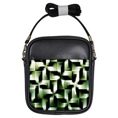 Green Black And White Abstract Background Of Squares Girls Sling Bags