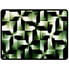 Green Black And White Abstract Background Of Squares Fleece Blanket (Large)