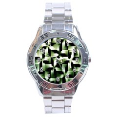Green Black And White Abstract Background Of Squares Stainless Steel Analogue Watch