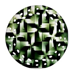 Green Black And White Abstract Background Of Squares Round Filigree Ornament (two Sides)