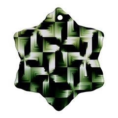 Green Black And White Abstract Background Of Squares Snowflake Ornament (two Sides)