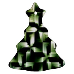 Green Black And White Abstract Background Of Squares Christmas Tree Ornament (Two Sides)