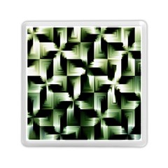 Green Black And White Abstract Background Of Squares Memory Card Reader (Square)