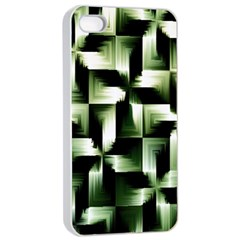 Green Black And White Abstract Background Of Squares Apple Iphone 4/4s Seamless Case (white)