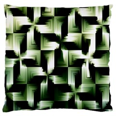Green Black And White Abstract Background Of Squares Large Cushion Case (One Side)