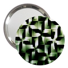 Green Black And White Abstract Background Of Squares 3  Handbag Mirrors