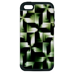 Green Black And White Abstract Background Of Squares Apple Iphone 5 Hardshell Case (pc+silicone)