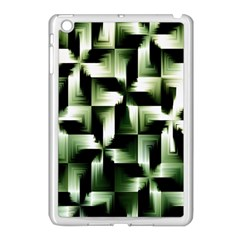 Green Black And White Abstract Background Of Squares Apple iPad Mini Case (White)
