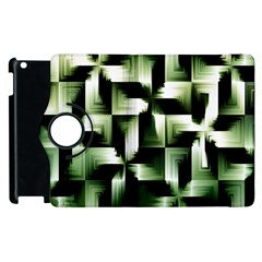 Green Black And White Abstract Background Of Squares Apple iPad 2 Flip 360 Case