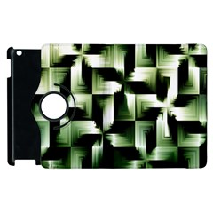 Green Black And White Abstract Background Of Squares Apple Ipad 3/4 Flip 360 Case