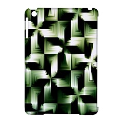 Green Black And White Abstract Background Of Squares Apple Ipad Mini Hardshell Case (compatible With Smart Cover)