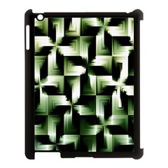 Green Black And White Abstract Background Of Squares Apple iPad 3/4 Case (Black)