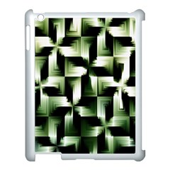 Green Black And White Abstract Background Of Squares Apple iPad 3/4 Case (White)