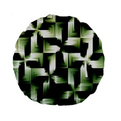 Green Black And White Abstract Background Of Squares Standard 15  Premium Round Cushions