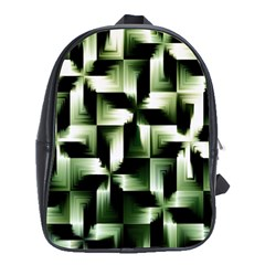 Green Black And White Abstract Background Of Squares School Bags (XL)