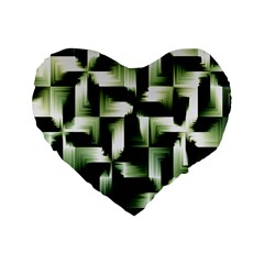 Green Black And White Abstract Background Of Squares Standard 16  Premium Heart Shape Cushions