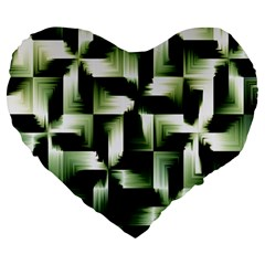 Green Black And White Abstract Background Of Squares Large 19  Premium Heart Shape Cushions