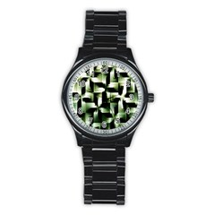 Green Black And White Abstract Background Of Squares Stainless Steel Round Watch