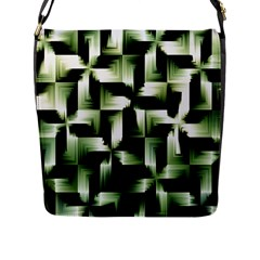 Green Black And White Abstract Background Of Squares Flap Messenger Bag (L)
