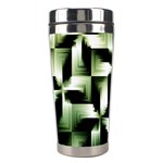 Green Black And White Abstract Background Of Squares Stainless Steel Travel Tumblers Left