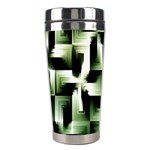 Green Black And White Abstract Background Of Squares Stainless Steel Travel Tumblers Right