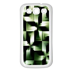 Green Black And White Abstract Background Of Squares Samsung Galaxy S3 Back Case (White)