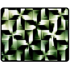 Green Black And White Abstract Background Of Squares Double Sided Fleece Blanket (medium)