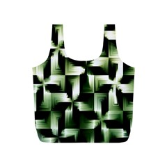 Green Black And White Abstract Background Of Squares Full Print Recycle Bags (S)