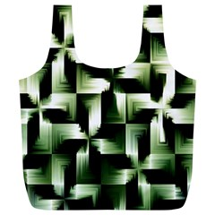 Green Black And White Abstract Background Of Squares Full Print Recycle Bags (L)