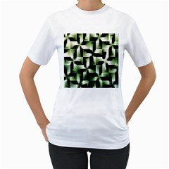 Green Black And White Abstract Background Of Squares Women s T-Shirt (White)