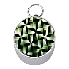 Green Black And White Abstract Background Of Squares Mini Silver Compasses