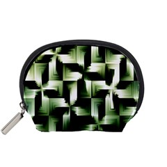 Green Black And White Abstract Background Of Squares Accessory Pouches (Small)