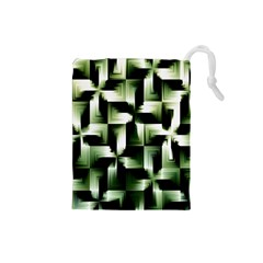 Green Black And White Abstract Background Of Squares Drawstring Pouches (Small)