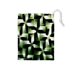 Green Black And White Abstract Background Of Squares Drawstring Pouches (medium)