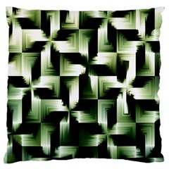 Green Black And White Abstract Background Of Squares Large Flano Cushion Case (One Side)