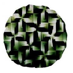 Green Black And White Abstract Background Of Squares Large 18  Premium Flano Round Cushions