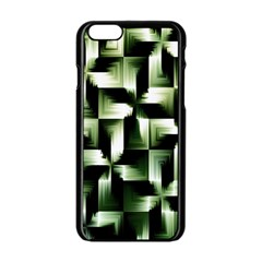 Green Black And White Abstract Background Of Squares Apple Iphone 6/6s Black Enamel Case