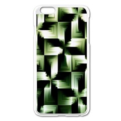 Green Black And White Abstract Background Of Squares Apple iPhone 6 Plus/6S Plus Enamel White Case
